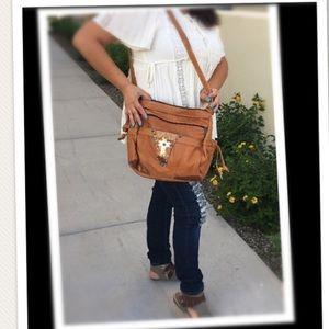 100% leather boho purse bag